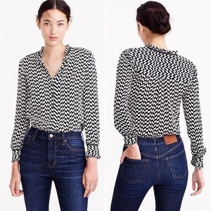 J.CREW Silk Geometric Houndstooth Blouse